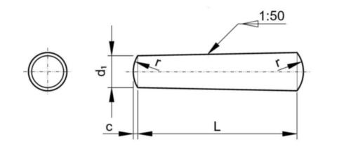 Conische pen, gedraaid DIN 1 B Automatenstaal 13X70MM