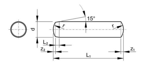 Cavilha paralela temperada m6 DIN 6325 Aço 60±2HRC Sem tratamento de superficie 16X30MM