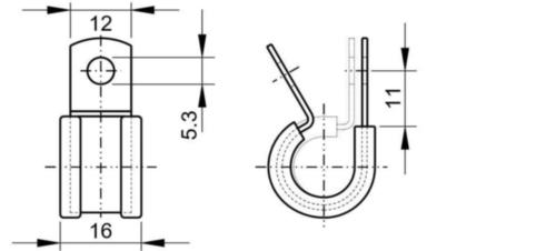 MAXXFAST P-clip met rubber inleg, band 12 mm breed Staal Elektrolytisch verzinkt 23