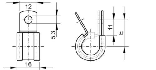 Collier en caoutchouc P-clip, largeur de bande 12 mm Acier inoxydable (Inox) A2 38MM