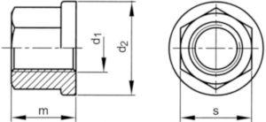 Hatlapú csavaranya peremmel H=1,5D DIN ≈6331 Rozsdamentes acél A1 70 M16