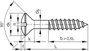 Slotted raised countersunk head wood screw DIN 95 Stainless steel A2 5,5X35MM