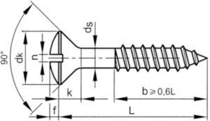 Bolverzonken houtschroef met zaaggleuf DIN 95 Staal Elektrolytisch verzinkt 3X40MM