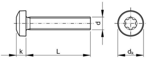 Tornillo cabeza cilíndrica, hexalobular DIN ≈7985 Acero inoxidable (Inox) A4 80 M4X6