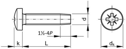 Șurub autofiletant-formare filet, cap bombat & locaș Pozidriv Oțel Zincat M5X35