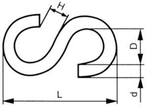 S-Hook article 105G Steel Zinc plated NO.30 (25MM)