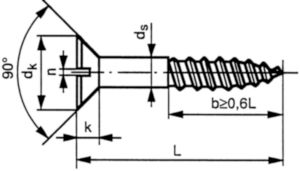 Slotted countersunk (flat) head wood screw DIN 97 Brass CU2/CU3 Nickel plated 3X12MM