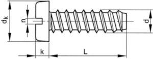 Hengeresfejű, hornyolt lemezcsavar, tompa véggel DIN 7971 F Acél Nikkelbevonatos ST2,9X6,5MM