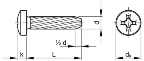 Závitorezná skrutka s polguľatou hlavou s krížovou drážkou Phillips DIN 7516 AE-H Oceľ Pozinkované M4X8