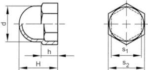 Beschermkap voor zeskantbouten en -moeren Zwart Kunststof Polyethyleen M4