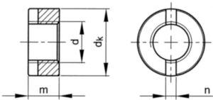 Ronde moer met zaaggleuf DIN 546 Roestvaststaal (RVS) A4 M6