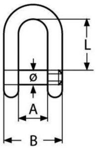 Rundschäkel mit Innensechskant Rostfreistahl A4 8MM