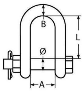 D-Sluiting met borgingsbout Roestvaststaal (RVS) A4 16MM