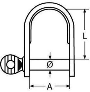 D-Sluiting kort Roestvaststaal (RVS) A4 5MM