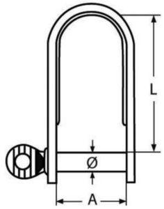 Flachschäkel mit Bund, lange Form Rostfreistahl A4 8MM