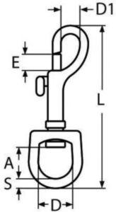 Wirbelkarabiner Rostfreistahl A4 19MM