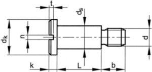 Pancilinderschroef met zaaggleuf en borst DIN 923 Staal Blank 4.8 M10X20