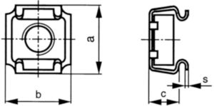 Piuliță colivie / captivă pentru tablă tip SMG Oțel arc Zincat M8 - B