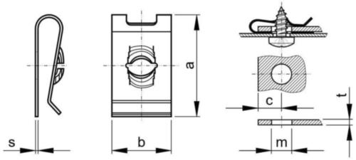 Porca rápida tipo SNU Aço mola Zincado M8