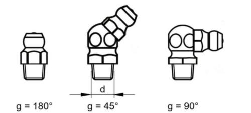 Copo de lubrificação cone tipo UNF (A=180º/B=45º/C=90º) DIN ≈71412 Aço Zincado 5/16-180°