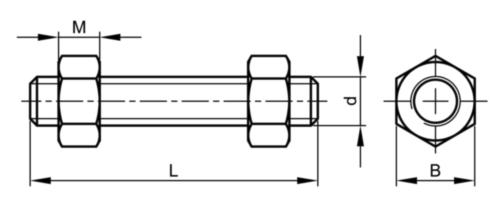 Prezon cu 2 piulițe pentru flanșe BS ≈4882 Oțel ASTM A193M - ASTM A194M Dreapta Simplu Gr.B7 - Gr.2H M33X190