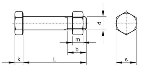 Structural assembly set ISO metric thread EN 15048 Acero Galvanizado caliente 4.6/5 M24X115