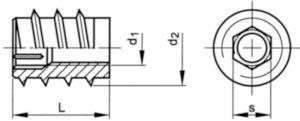 Závitová vložka s vnitřním šestihranem typ SK Ocel Pozinkované M10X25