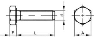 Vis à tête hexagonale filetage total UNC ASME ≈B18.2.1 Acier Electro zingué Gr.5 5/8X1 Inch