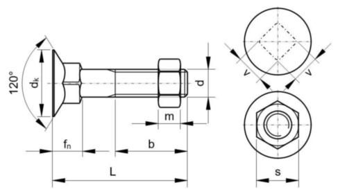 Verzonken slotbout met hoog vierkant met zeskantmoer DIN 605/555 (1987) Staal Rechts Elektrolytisch verzinkt 4.6 M6X50