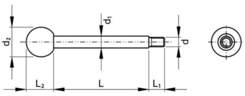 Gépkar, golyó alakú gombbal, A típus Esztergált acél Black Oxide M8X80