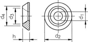 Arandela para tornillos cabeza avellanada 90º Aluminio M8