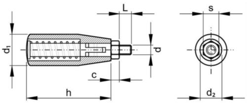 Behajtható fogantyú, forgatható Üvegszál-erősítésű műanyag M8