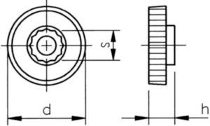 Nízky ryhovaný gombík pre šesťhranné skrutky a matice Plast Polyoxymetylén tenká M8X36X10