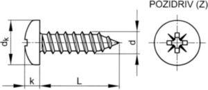 Cross recessed pan head tapping screw Pozidriv DIN 7981 C-Z Steel Zinc plated ST2,2X8MM
