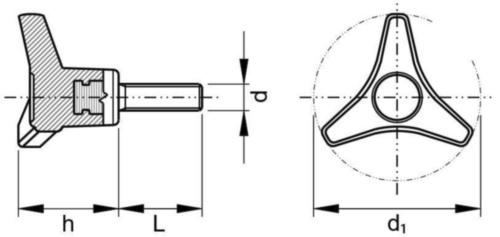 Three-arm knob with threaded end Üvegszál-erősítésű műanyag M8X30