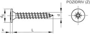 Šroub s křížovou drážkou pro zadní panely Pozidriv Ocel Pozinkované 5X60MM