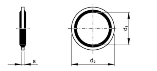 Bonded seal with rubber Steel / NBR Zinc plated 12,7X18X1,5MM