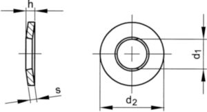 Conical spring washer for bolted connections DIN 6796 Stainless steel A2 M14
