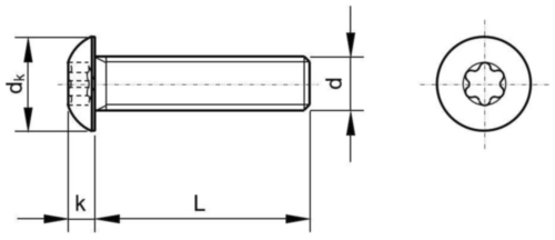 Hexalobular socket button head screw ISO ≈7380-1 Stainless steel A4 M4X6