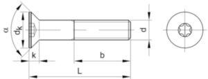 Verzonken schroef met T-ster DIN ≈7991 Staal Elektrolytisch verzinkt 08.8 M6X30