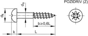Vis à bois à tête ronde à empreinte cruciforme Pozidriv DIN 7996-Z Acier inoxydable (Inox) A2 4X40MM