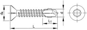 SPEDEC SC Vis autoperceuse à tête fraisée avec ailettes et empreinte Torx® Acier Electro zingué ST5,5X50MM