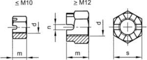 Tuerca hexagonal almenada MF DIN 935-1 Acero Sin revestimiento 6 M30X1,50 (≠DIN)