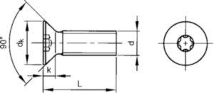Šroub se zápustnou hlavou s T-hvězdicí DIN ≈965 A Nerezocel A4 80 M4X6