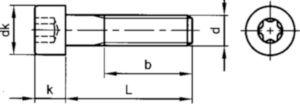 T-ster cilinderkopschroef ISO 14579 Staal Elektrolytisch verzinkt 8.8 M6X35