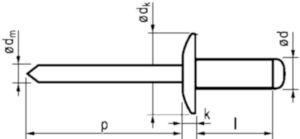 Rivet aveugle à tête plate large, ouvert Aluminium AlMg 2,5-3,5 / Acier Electro zingué 5,0X16MM dk=16