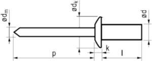 Stainless steel A2 / Stainless steel 4,8X8MM Rivet aveugle à tête plate, étanche
