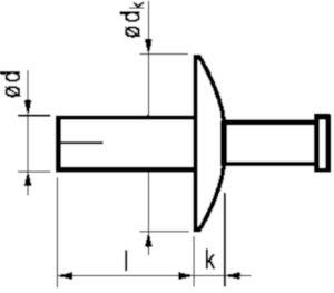 HAMMER Grote platbolkop blindklinkslagnagel Aluminium AlMg 5 Al-RVS A2 4,8X30MM