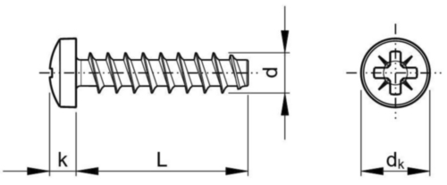 REMFORM® Şurub pt. plastic formator de filet, cap bombat & locaş Pozidriv Oțel Zincat 3X6MM