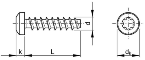 REMFORM® Şurub pt. plastic formator de filet, cap bombat & locaş Torx® Oțel Zincat 3X10MM
